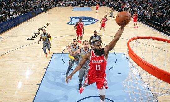 NBA丨哈登造犯规绝技让灰熊叫苦 轰32+12+10关键6罚制胜