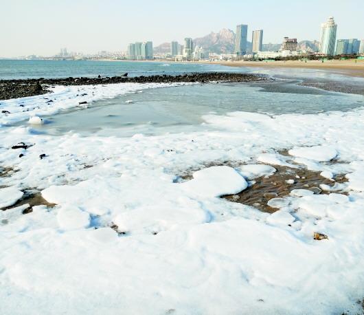 石老人海水浴场东侧的沙滩上出现大面积结冰,冰面面积不小.