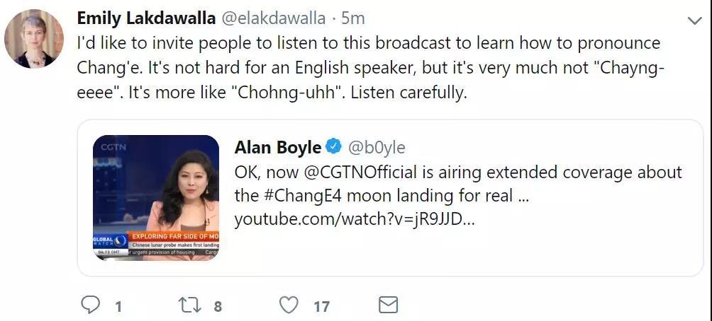 """今天,""""嫦娥四号""""成功着陆 外国网友也沸腾了"""