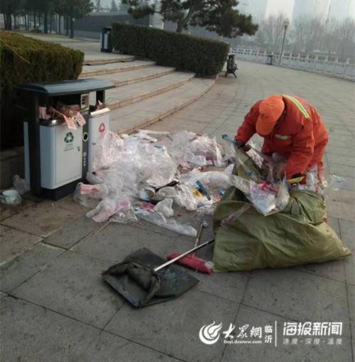 这个元宵节忙坏了临沂环卫工 1天清理910余吨垃圾