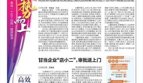 """高效青岛:千方百计打通壁垒 实现所有事项""""一网通办"""""""