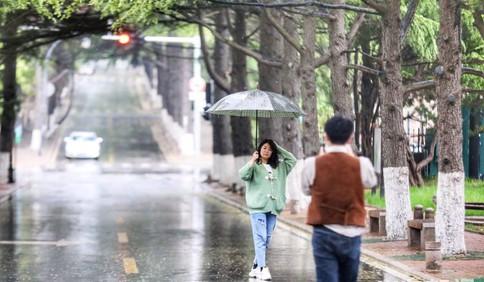 青岛八大关风景区:春雨沥沥 人们在雨中漫步