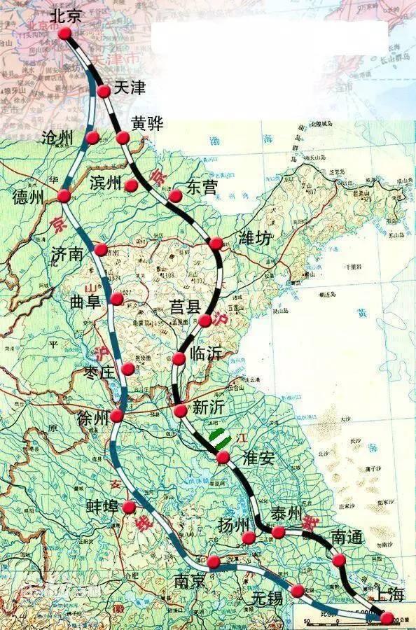 京沪高铁二线走向示意图