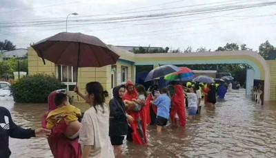 """不垮""""人梯""""暖心接力 青岛244名幼儿风雨中安全回家"""