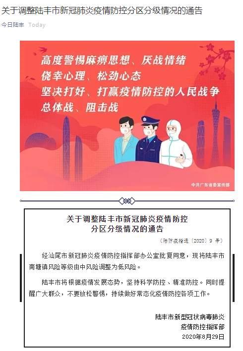 风险|广东陆丰南塘镇疫情风险等级由中风险调整为低风险