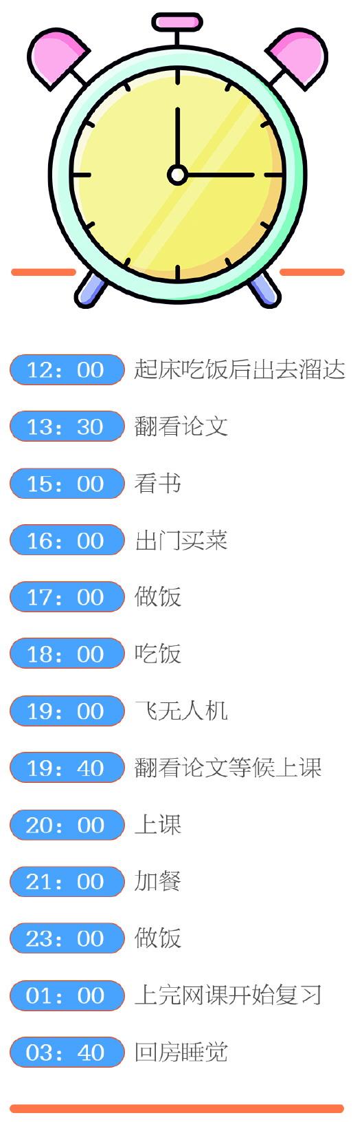 中国留学生卞楷清的国内24小时:夜宵变早餐 熬出黑眼圈