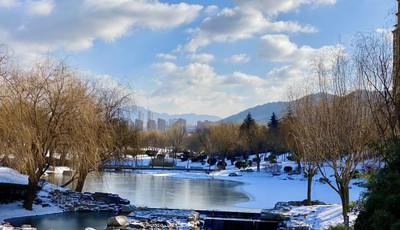 李村河现冰封河面景观 呈现别样的冬日美景