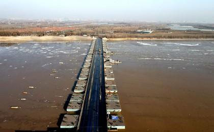 黃河山東段出現流凌 多座浮橋陸續拆除