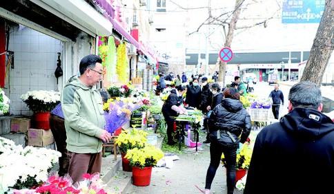 清明节越来越多人选择鲜花祭奠 菊花价格较往年大幅提高