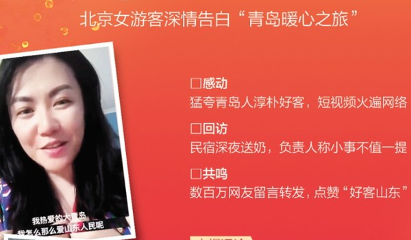 """半岛八连版聚焦 北京女游客深情告白""""青岛暖心之旅"""":说最猛的话 做最暖心的事!"""