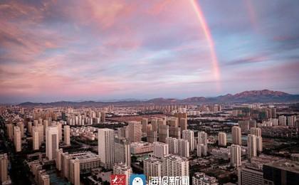 日照上空朝霞与彩虹齐飞 你看到了吗?